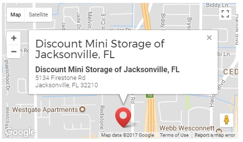 Discount Mini Storage of Jacksonville, FL is located at 5134 Firestone Road, Jacksonville Florida.